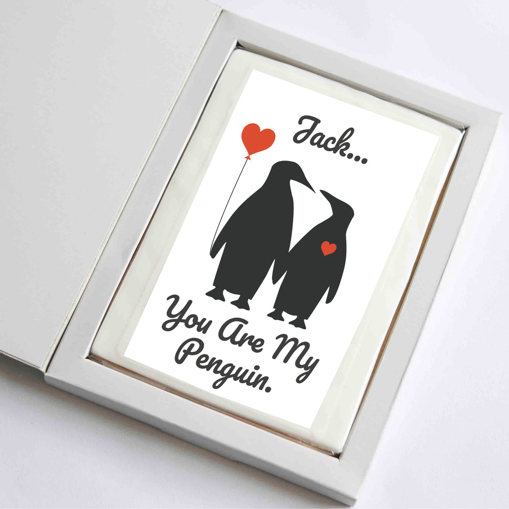 Personalised Giant Love Penguin Cookie Card