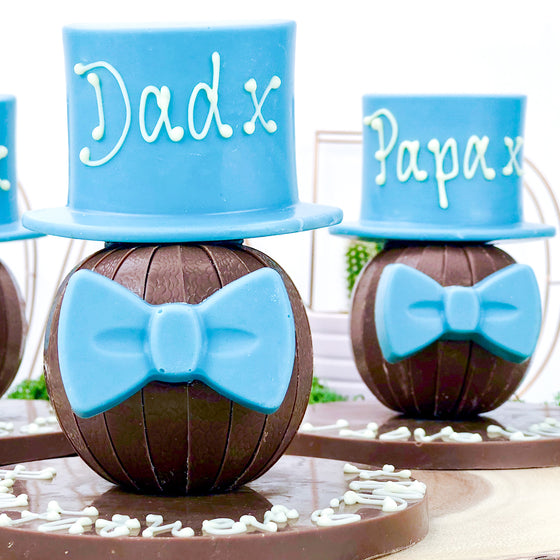 Personalised Terrys Chocolate Orange with Hat and Bow Tie Blue