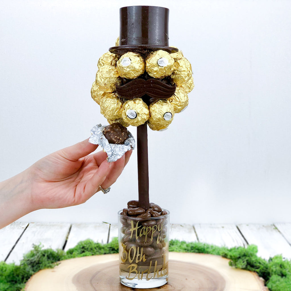 Personalised Ferrero Rocher® Hat & Moustache Sweet Tree
