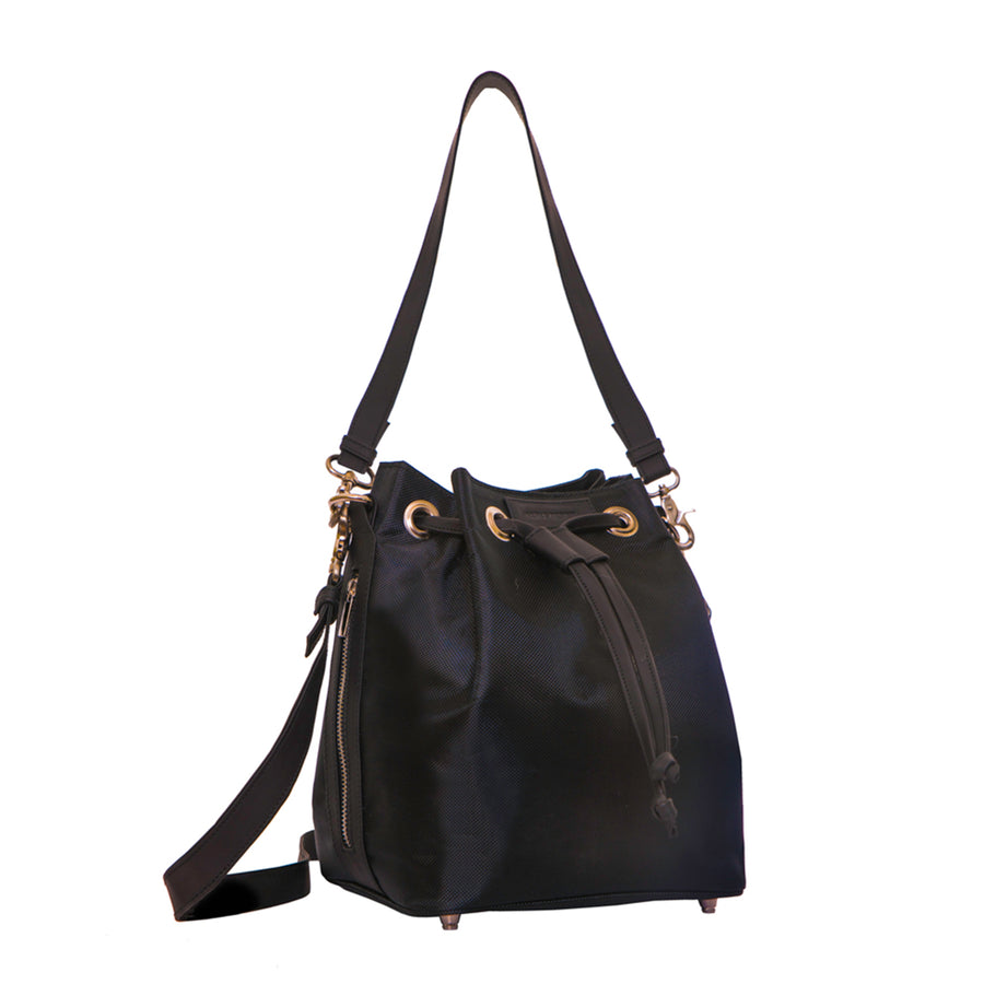 Rugged Medium Bucket Bag, Black