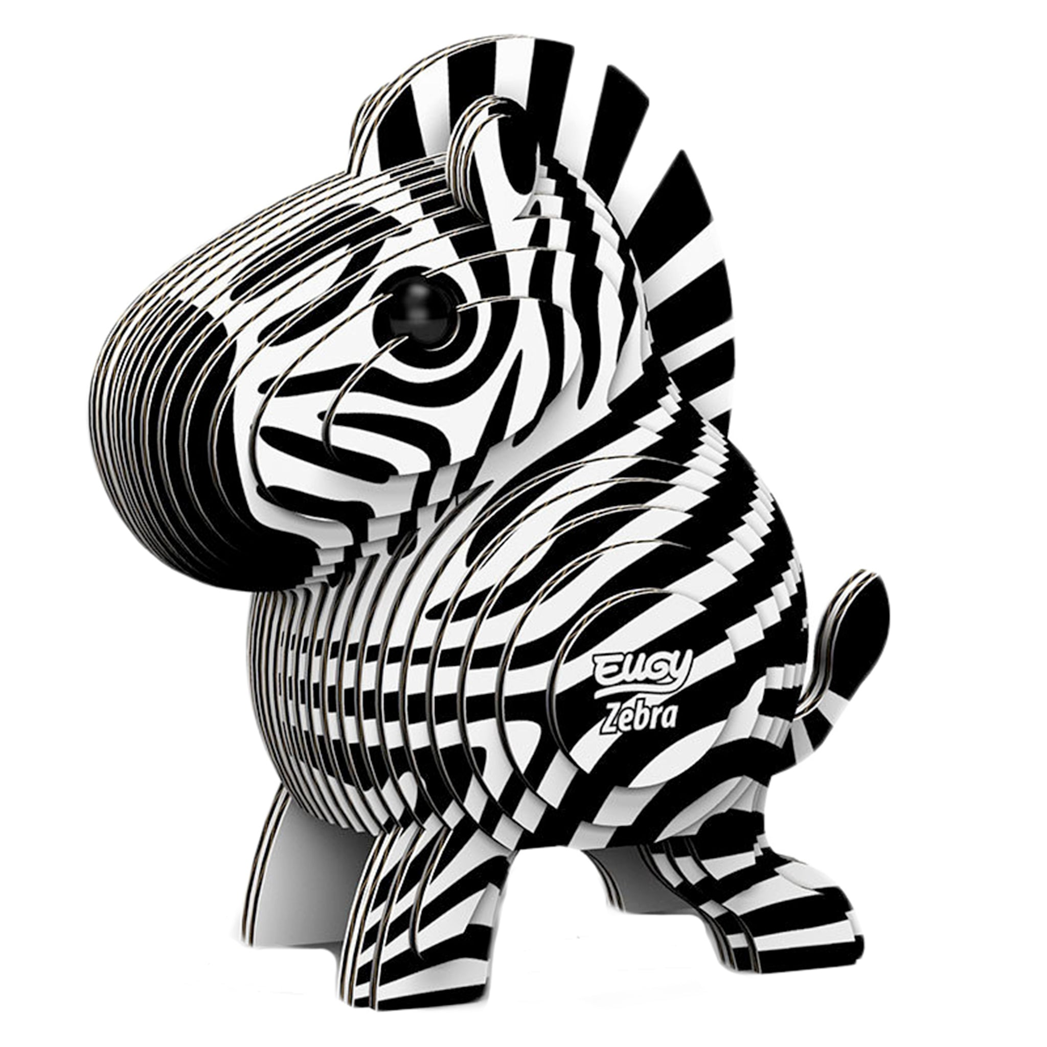 Eugy Dodoland Encourage your creativity and build this amazing zebra.  Environmentally friendly pack includes 6 to 7 numbered cards ready to assemble, non-toxic glue and uses eco-friendly inks.  Conforms to international safety standards (EN71-1,2,3 and CPSIA).