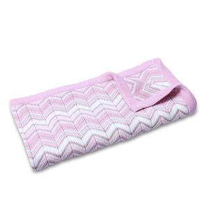 Marley Zig Zag Knit Cot Blanket in Pink
