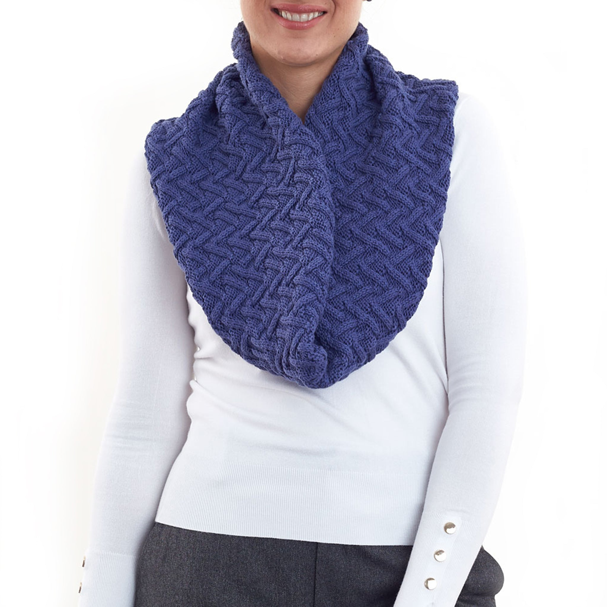 Carter Cable Knit Infinity Scarf in Denim