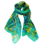Load image into Gallery viewer, Perfecto City Scene Silk Digital Print Scarf in Jade