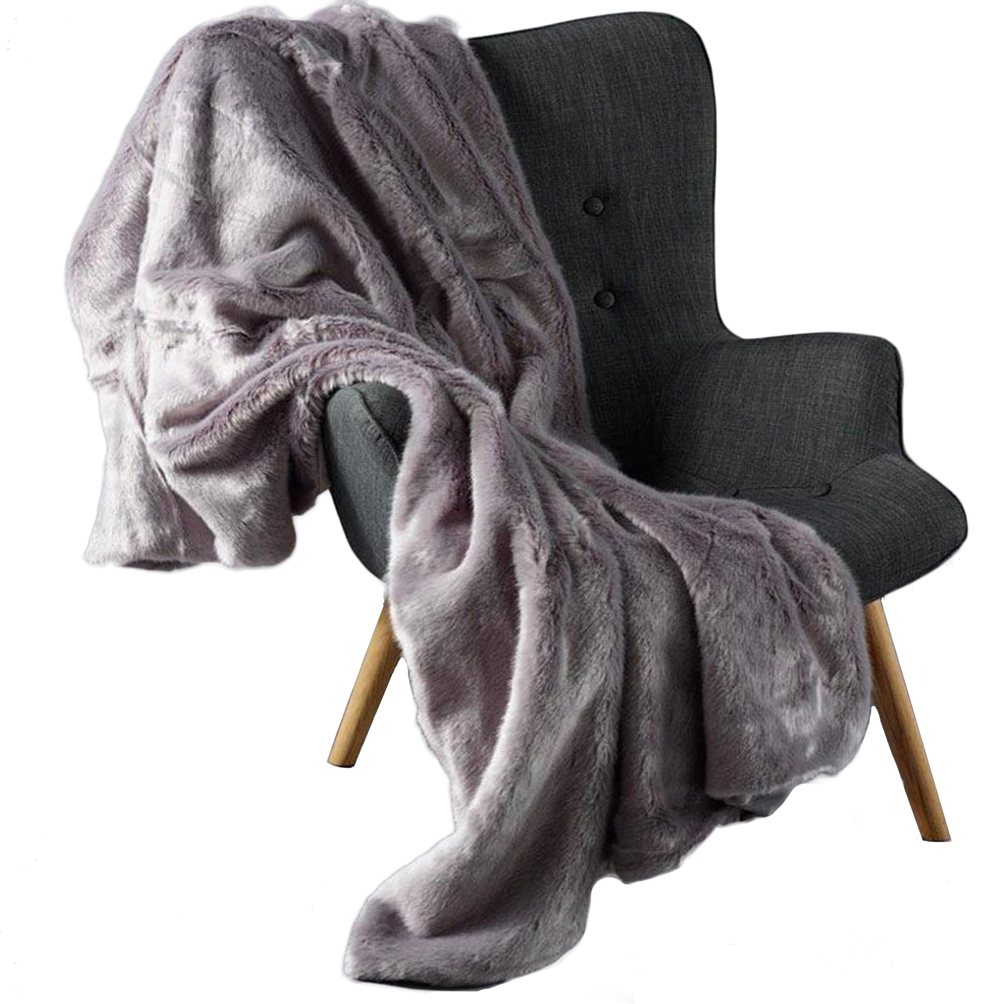 Faux Fur Grey Throw