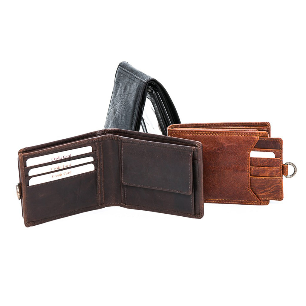 Oran Leather's Men's Ami Wallet features 3 card holders, coin pocket with press stud closure, 4 hidden compartments and 2 note compartments.  Extra pull out compartment features 4 extra card holders and 1 i.d. compartment.  Fitted with RFID technology.  H 9 cm x L 12 cm x W 2.5 cm.