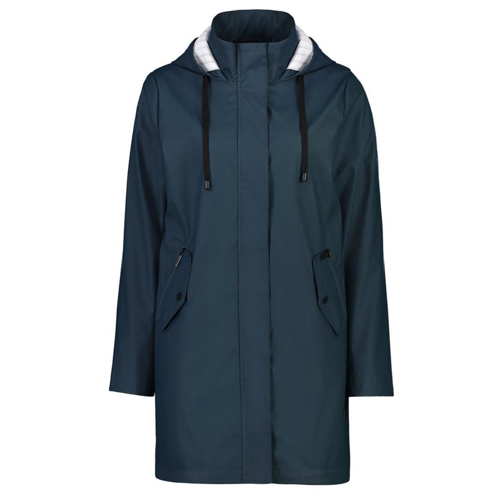 The Billie rain coat by Moke is a lightweight raincoat with a matte finish.  Featuring an oversized silhouette, uneven hem and contrast stripe lining.  Shell: 50% polyurethane, 50% polyester  Lining: 50% cotton 50% polyester