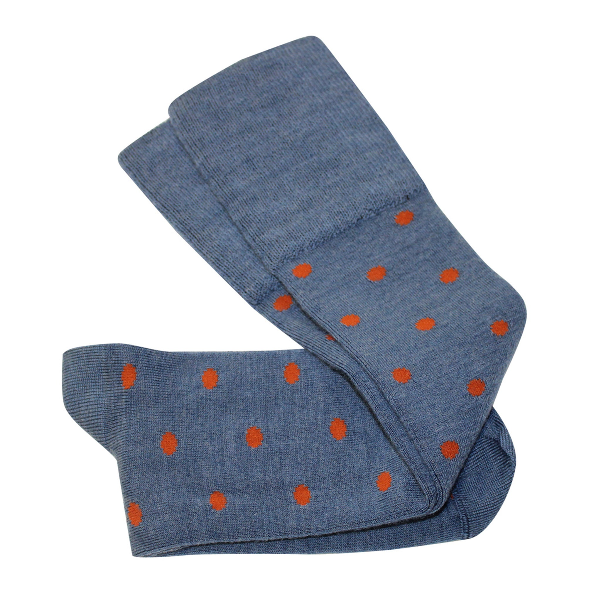 Dotty Knee High Socks Blue/Rust