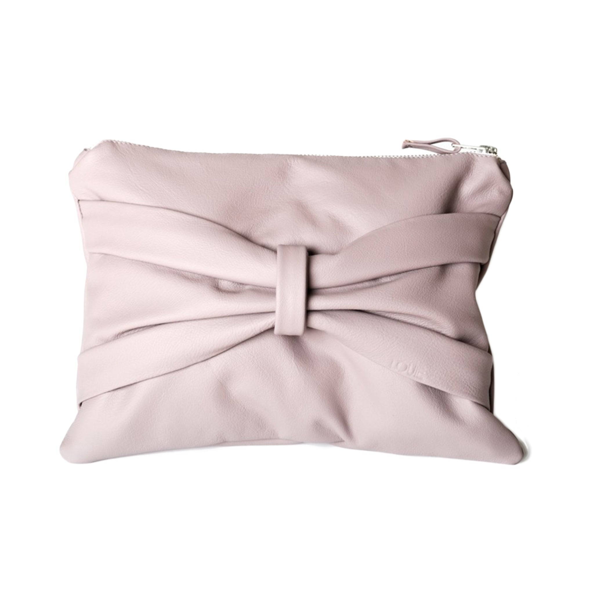 Louie Couture's Bow clutch is handmade in Melbourne using premium Italian cow hide leather in ombretto and is fully lined. It has a zip closure, pockets inside and plenty of space for your belongings. The clutch is completed with a decorative bow strap on the front. Length 30cm x height 22cm x width 2cm.