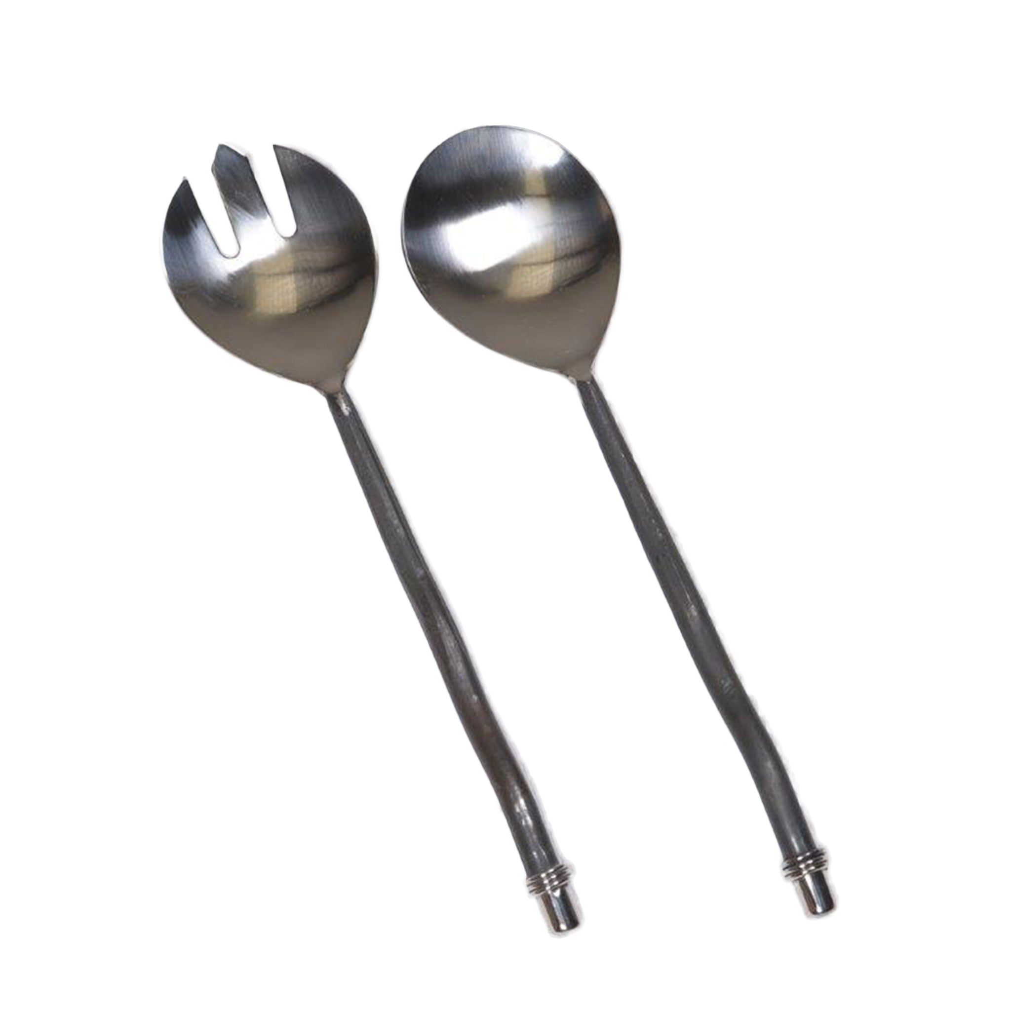 New Direction Imports Slim, round handled salad servers with burnished handles and ring detail.  Made in India.