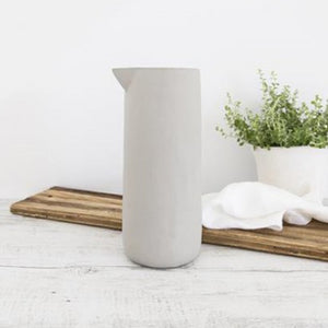 Flax Jug in grey. Beautiful organic shaped jug with no handle comes in 3 sizes.  Choose the best size for your needs or have them all grouped together on show and ready for use as needed.