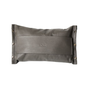 Louie Couture's GG clutch is handmade in Melbourne using premium Italian cowhide leather in this stunning, sophisticated gunmetal grey. It has a zip on the rear and space for your notes and credit cards inside. With a thick hand strap on the front this clutch is perfect for everyday use or that special occasion. Length 27cm x height 15.5cm x width 1cm.  Edit alt text