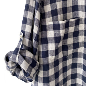 The Boyfriend Linen Shirt in Navy Large Gingham