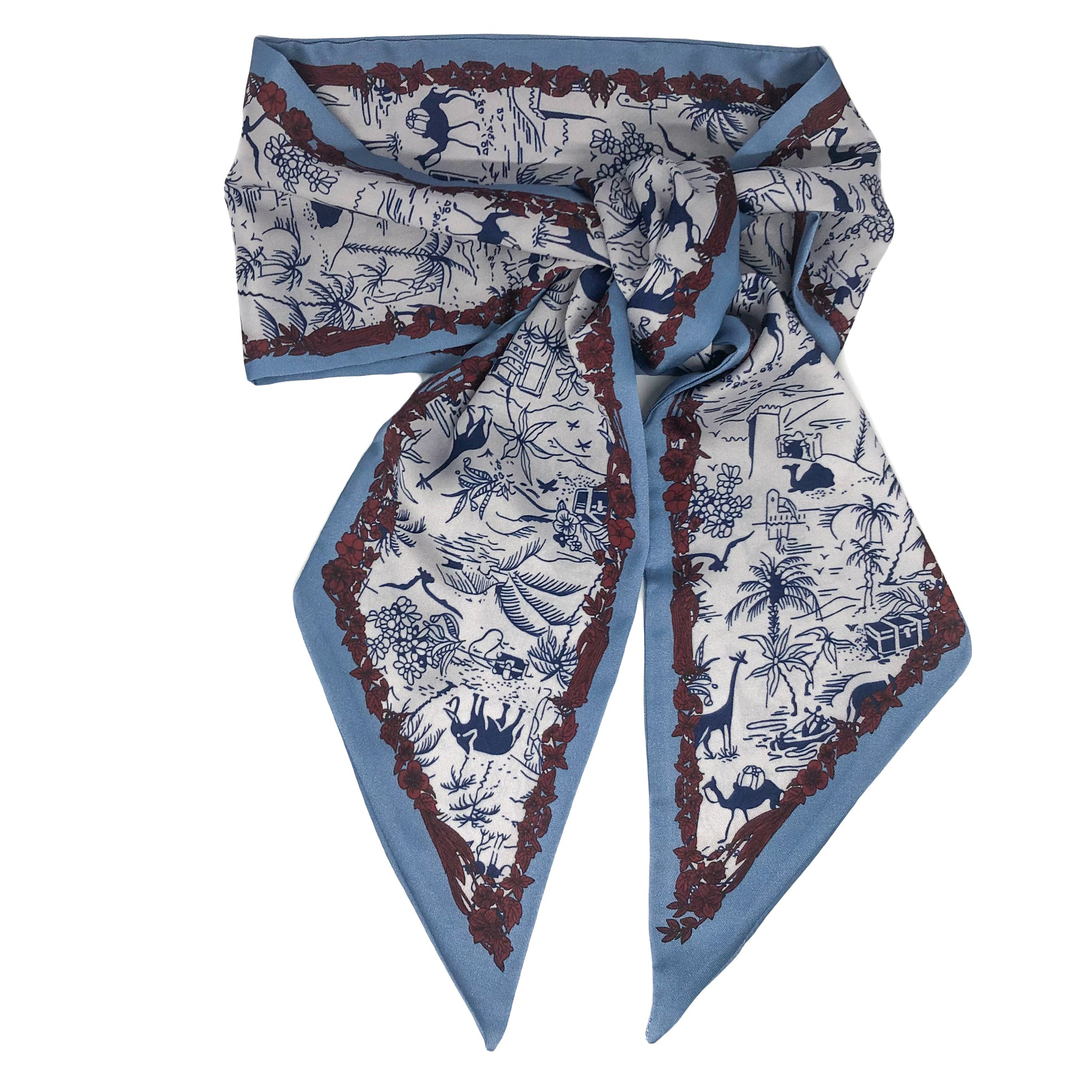 Herricks neck scarf. This elegant neck scarf is just perfect to add a touch of difference to your outfit. Lightweight and silky smooth it has a silver background with navy jungle animal design and a gorgeous tropical floral border in burgundy finished with a plain blue edge.   Measures L 134 cm x W 13 cm