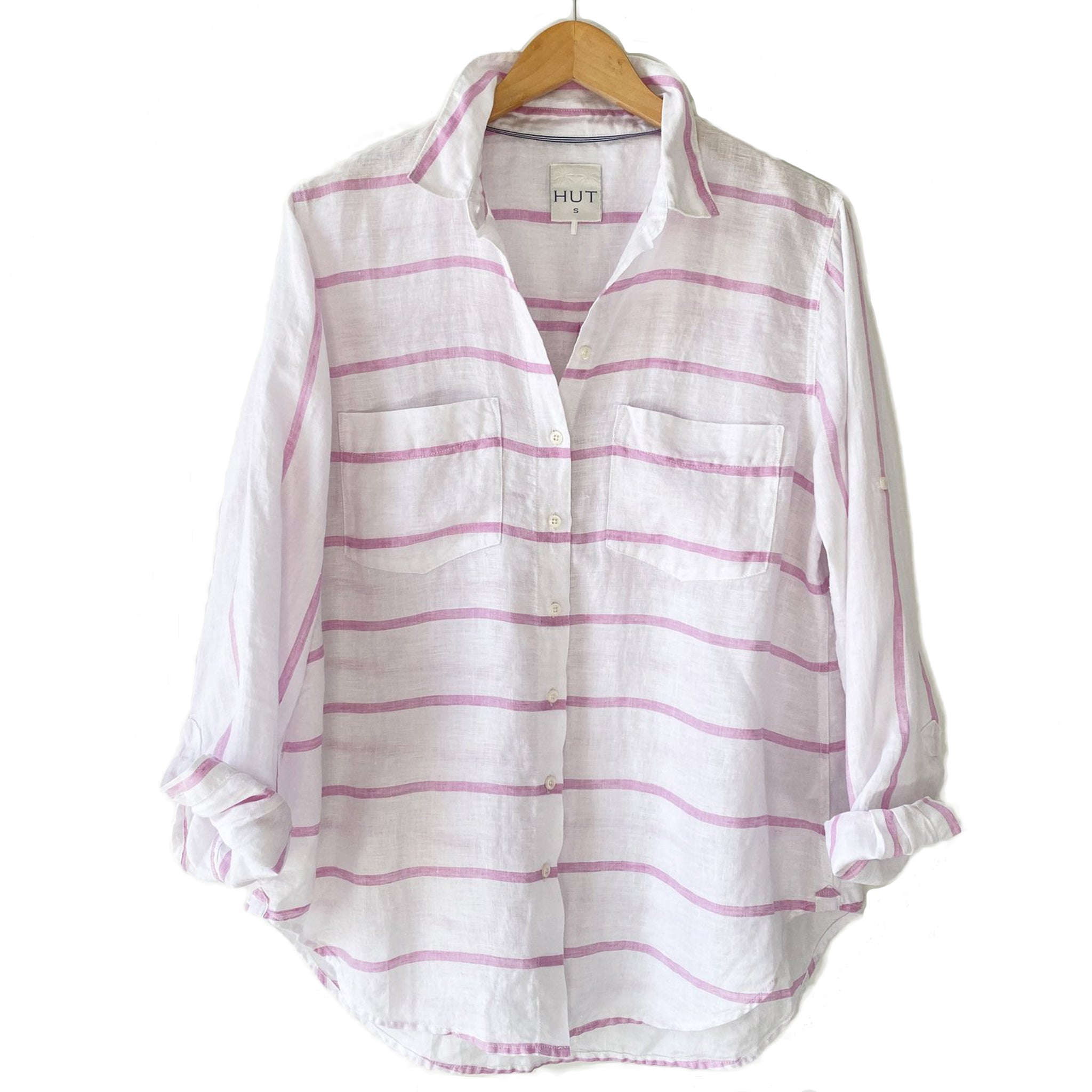 The Boyfriend Linen Shirt in Musk Pink Chambray Horizontal Stripe