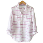 Load image into Gallery viewer, The Boyfriend Linen Shirt in Musk Pink Chambray Horizontal Stripe