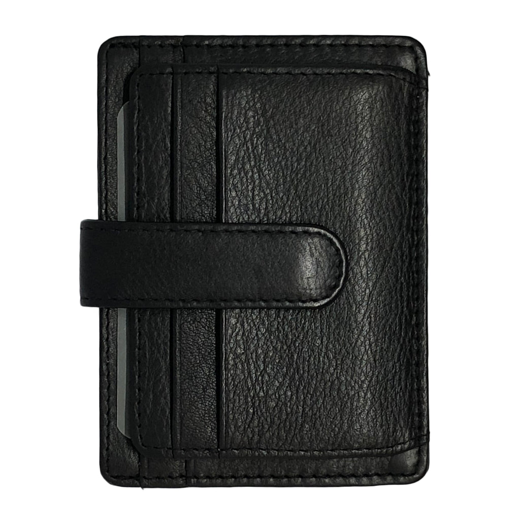 Oran Leather's Sasha Card Holder in Leather features a clip, 6 card slots, 1 i.d. slot and 1 hidden compartment. Fitted with RFID technology.  H 8 cm x L 11 cm x W 0.5 cm.