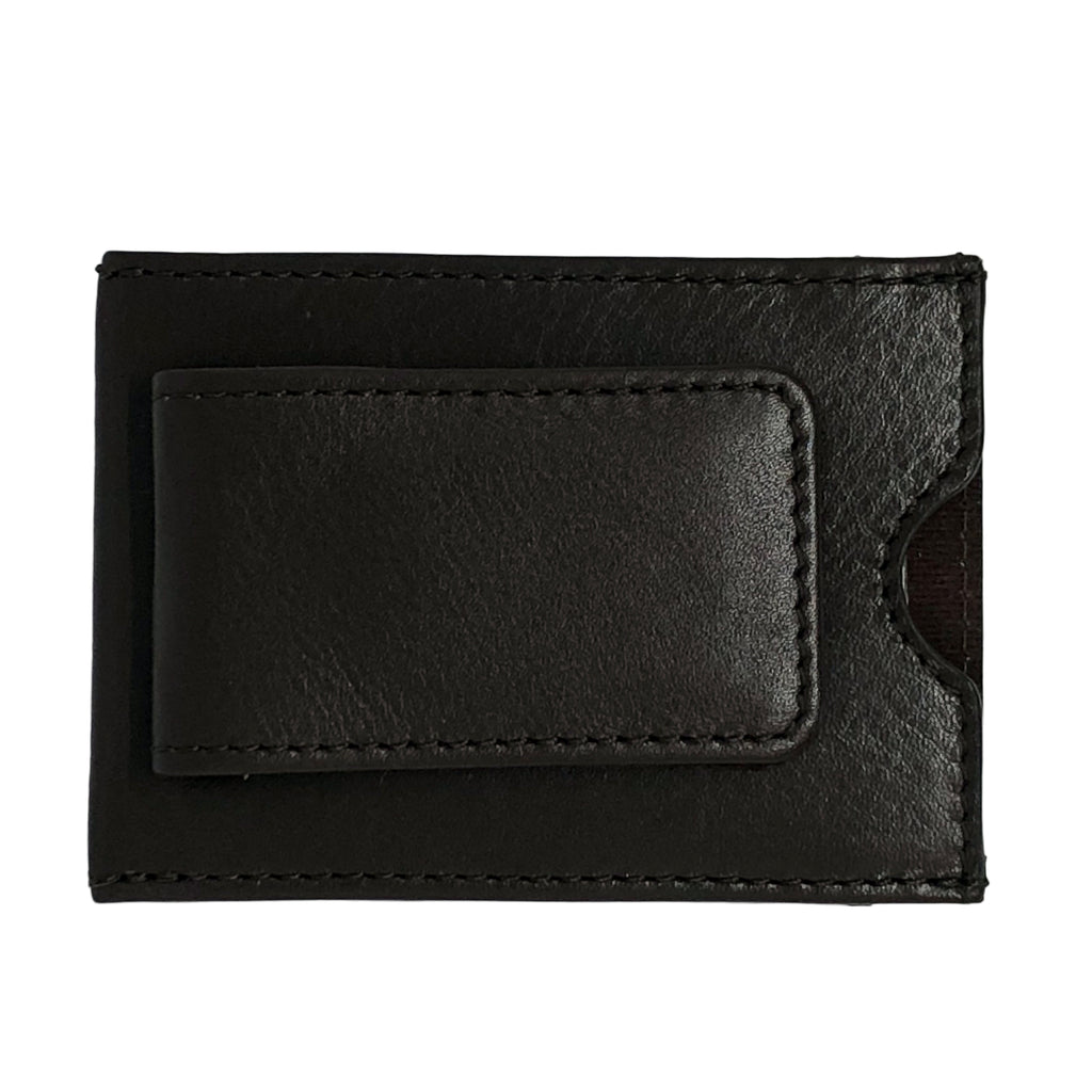Oran Leather's Soft leather money clip features two card slots and magnetised money clip.  Fitted with RFID technology.  H 7 cm x L 9.5 cm x W 0.5 cm.