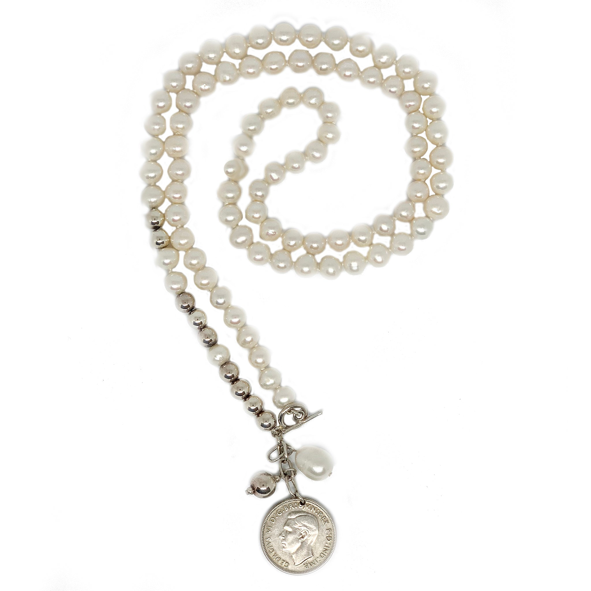 Long Pearl and Silver Plated Bead Necklace