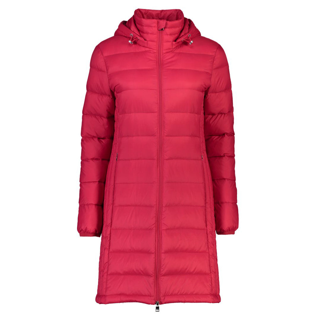 The Sarah lightweight down coat by Moke is a classic 3/4 length jacket.