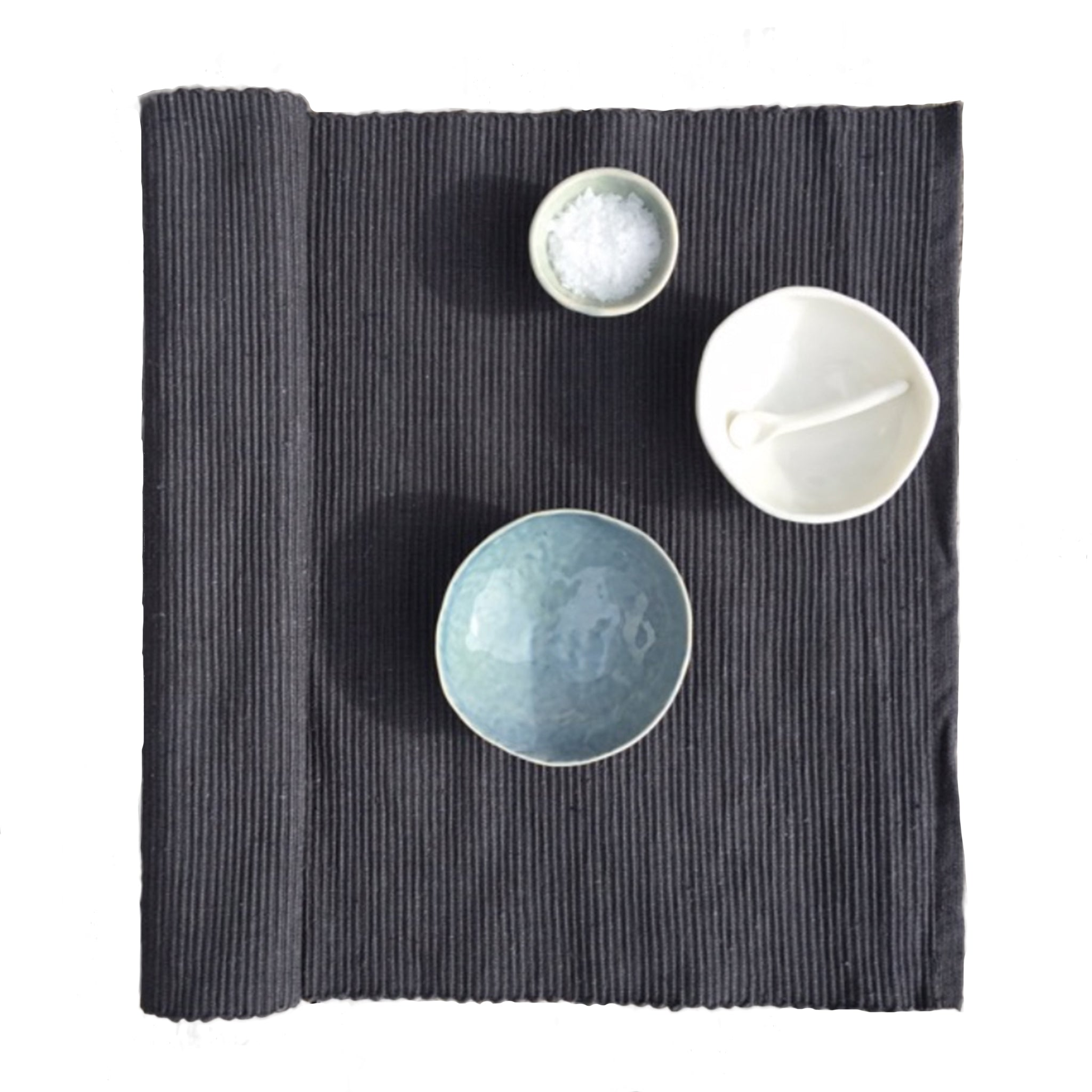 Placemats Cotton Rib - Set of 6 - Charcoal