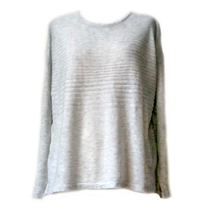 Ribbed Detail Knit by Little Lies. Lightweight jumper with self stripe texture across shoulders and yoke of garment.  65% cotton, 35% polyester.