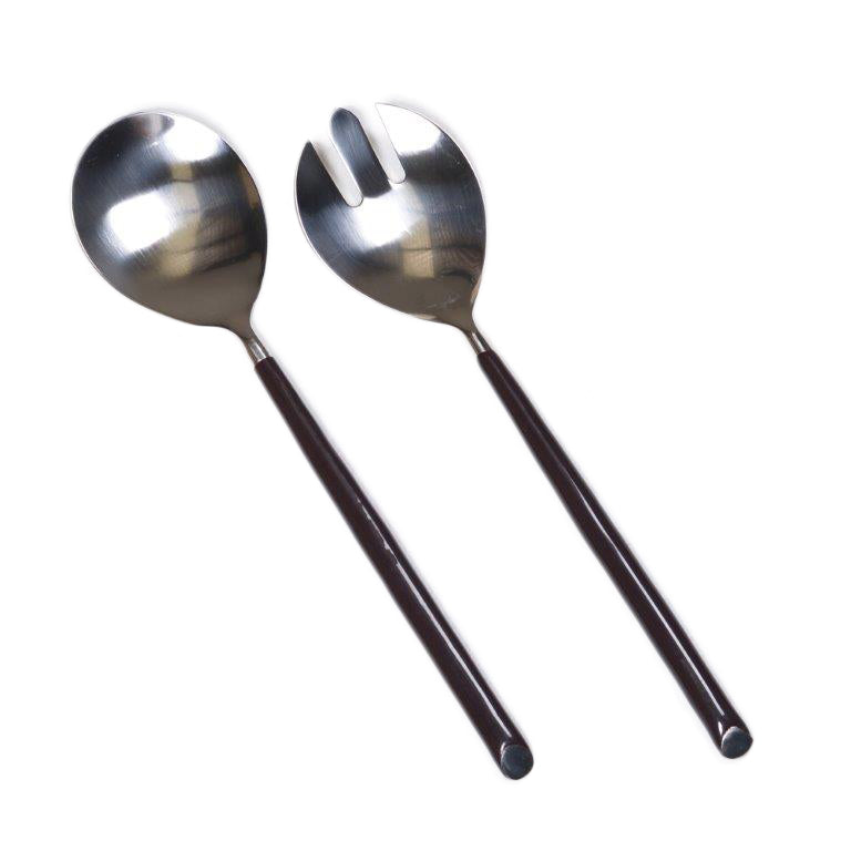 New Direction Imports Beautifully balanced salad servers with black handles.  Stainless steel.  Made in India.
