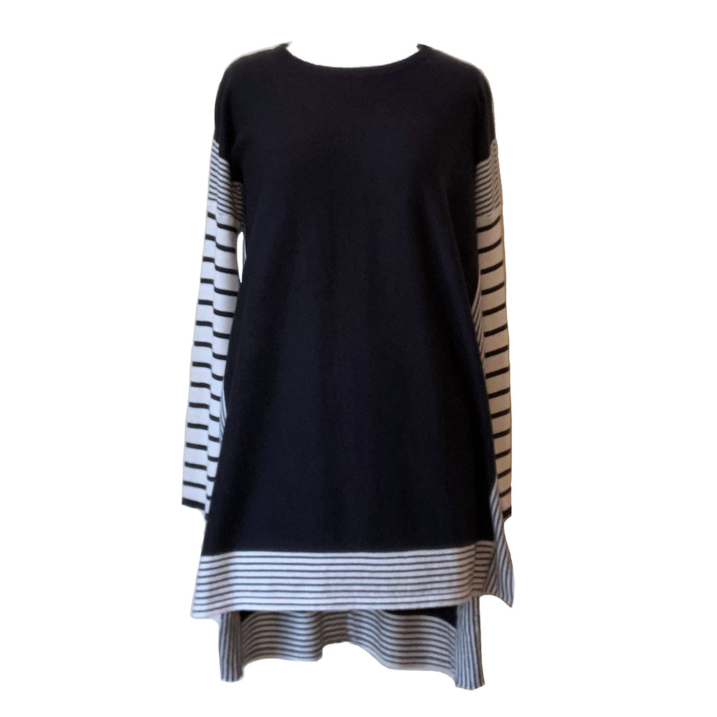 This stunning tabard style Stripe Side Split Sweater features striped sleeves and striped detail around the base of the garment. The knit is longer at the back than the front giving a lovely long and elegant silhouette.  85% cotton, 15% wool.