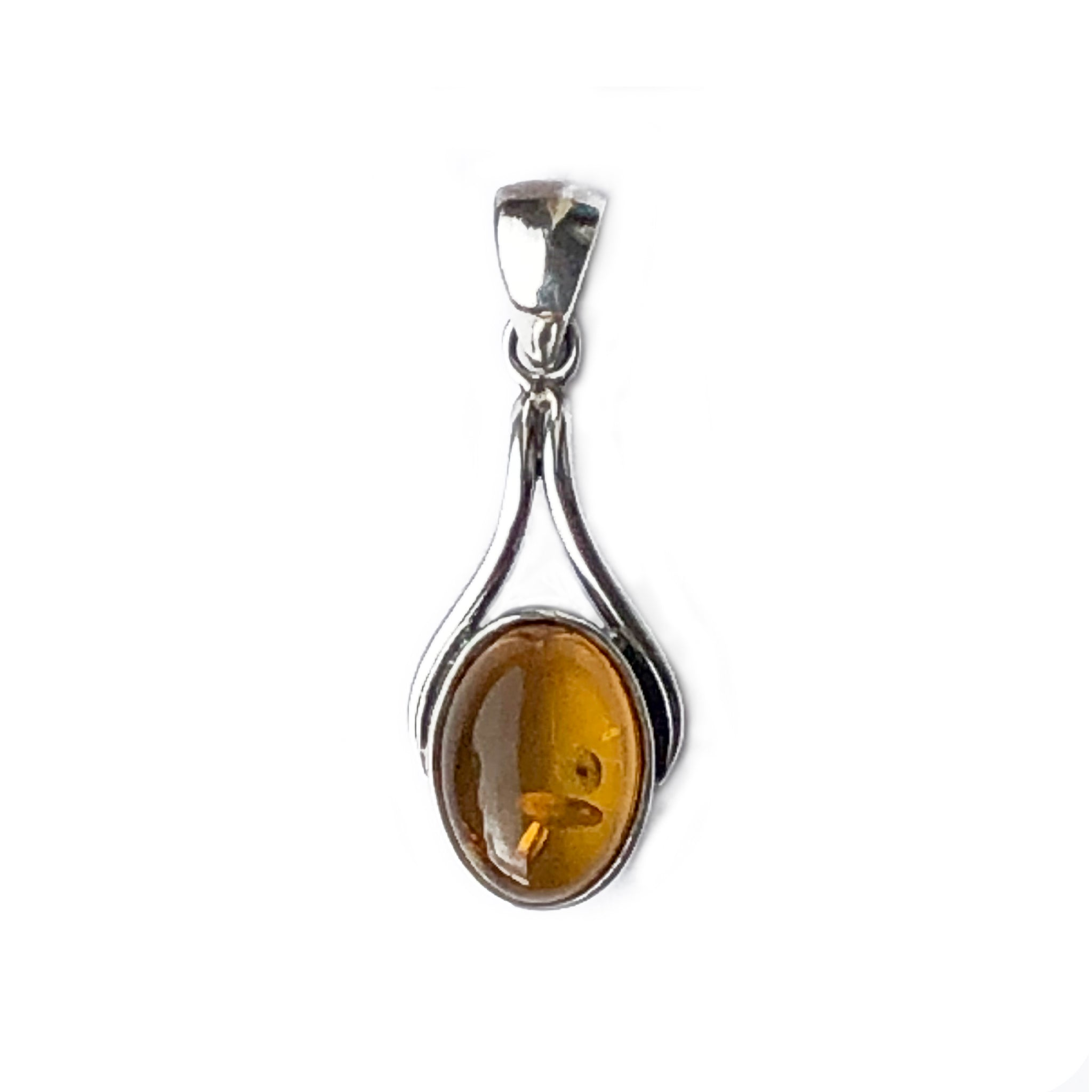 The Amber Centre. This lovely small piece of cognac amber is full of life with its interesting inclusions.  The silver support and bail with its little twist at the top add interest without detracting from the amber itself.  Amber measures 18mm long x 9mm wide. The bail adds another 8mm to the full length of the pendant.