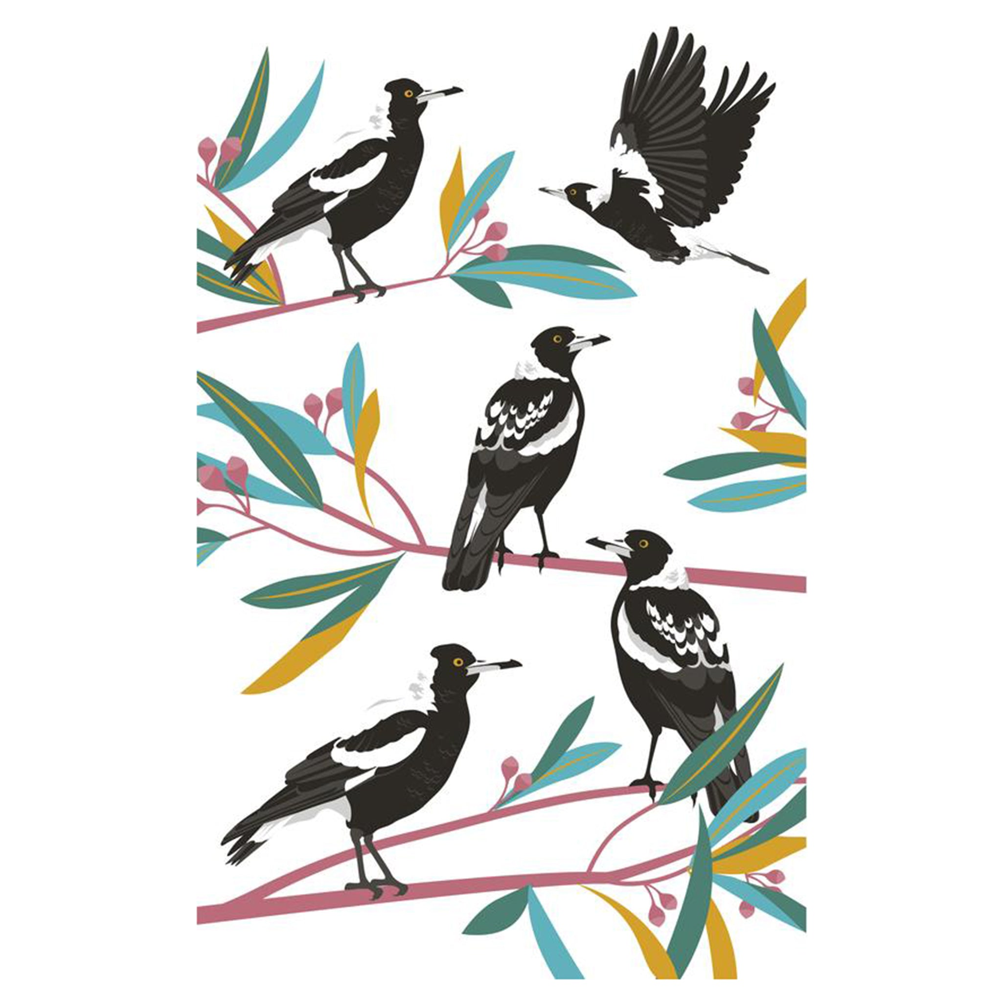 Magpies on Branches Tea Towel by all gifts australia