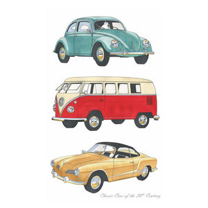 Classic Cars Volkswagons Tea Towel by All Gifts Australia