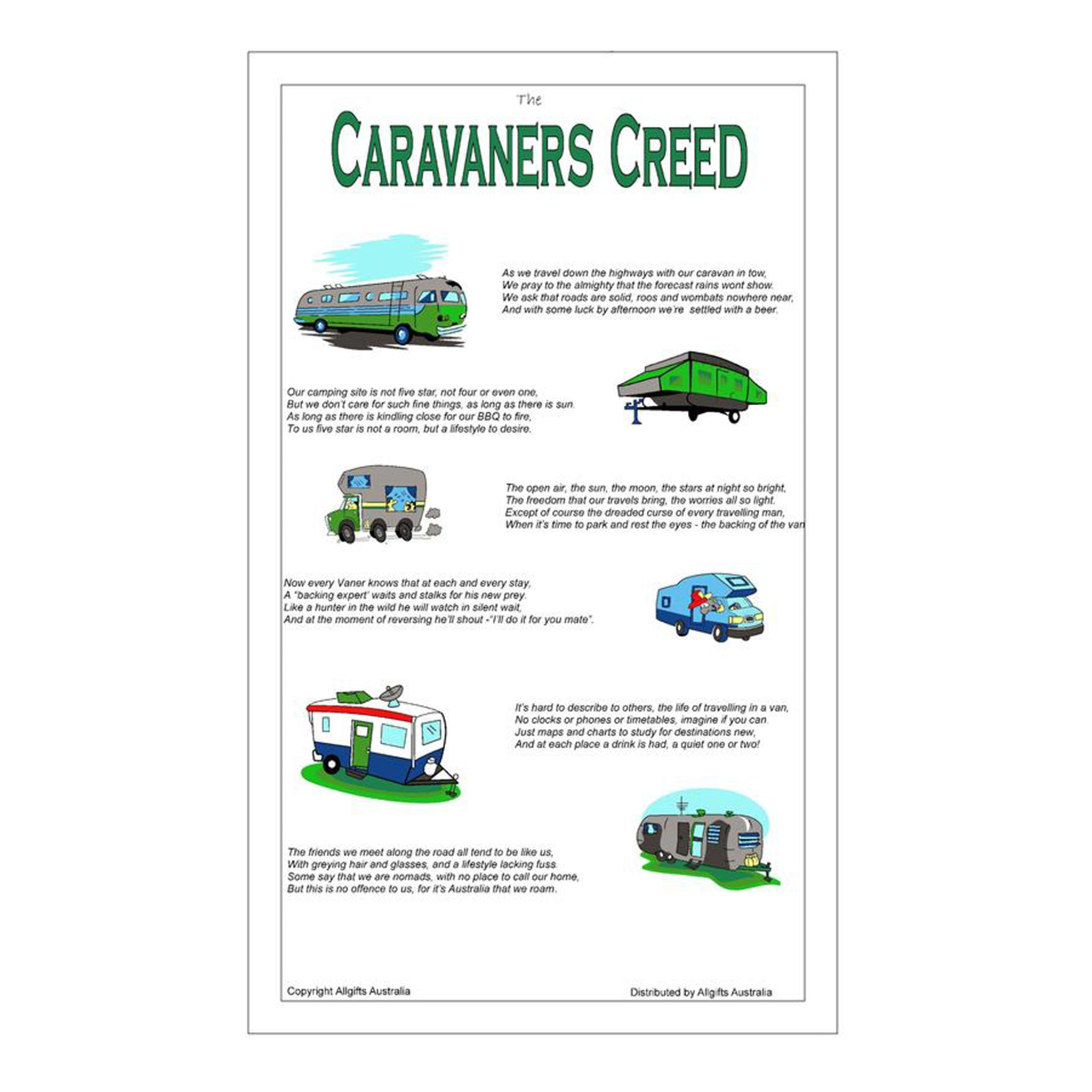 Caravaners Creed Tea Towel by All Gifts Australia