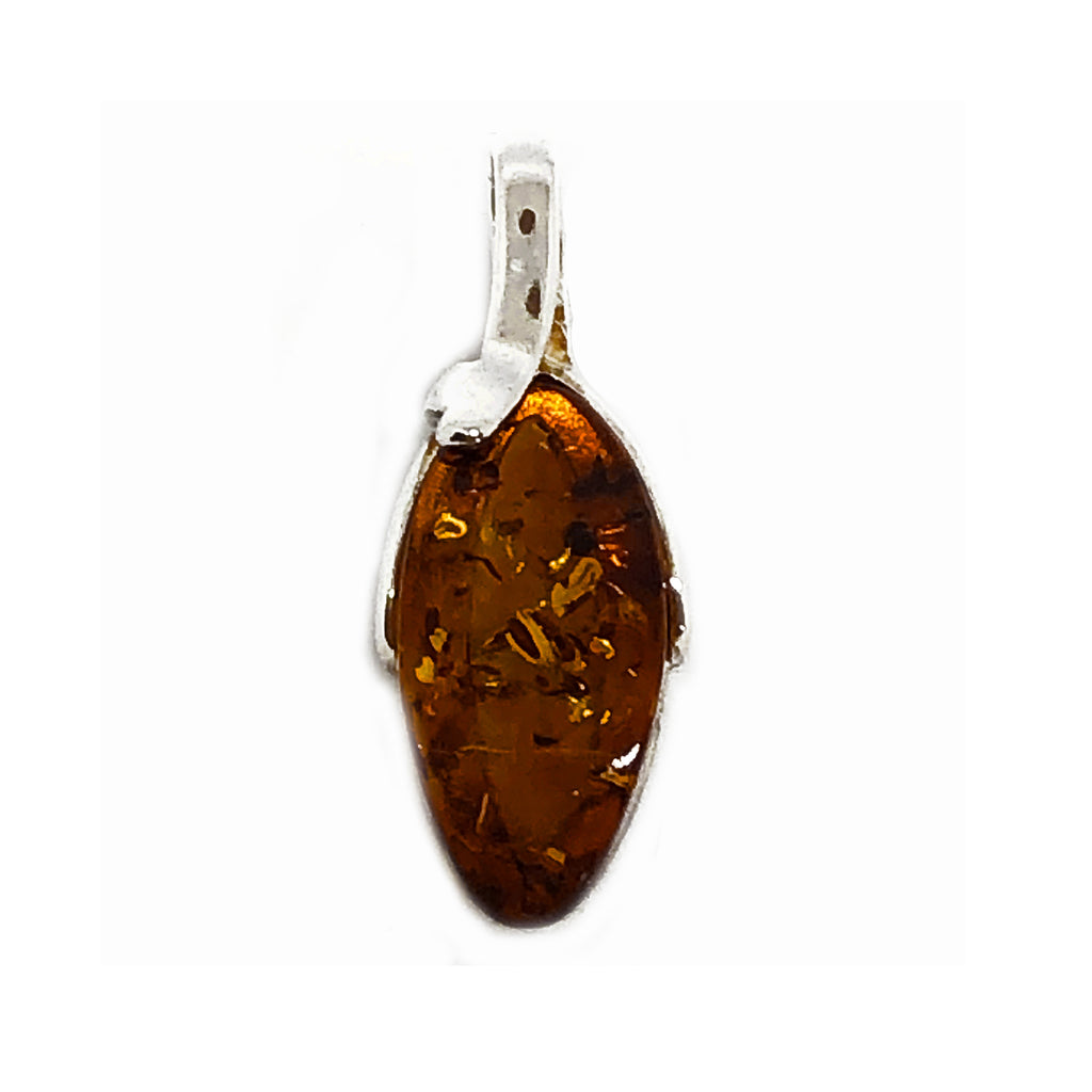 The Amber Centre. This lovely light amber has just a few inclusions and the lovely golden colour reflects and emphasises those inclusions. Surrounded by a Sterling silver band and a sweep of silver attaching the pendant to the bail, this pendant will be a favourite for you to wear every day.  Amber measures approximately 15mm x 10mm and full length of pendant is 36mm.