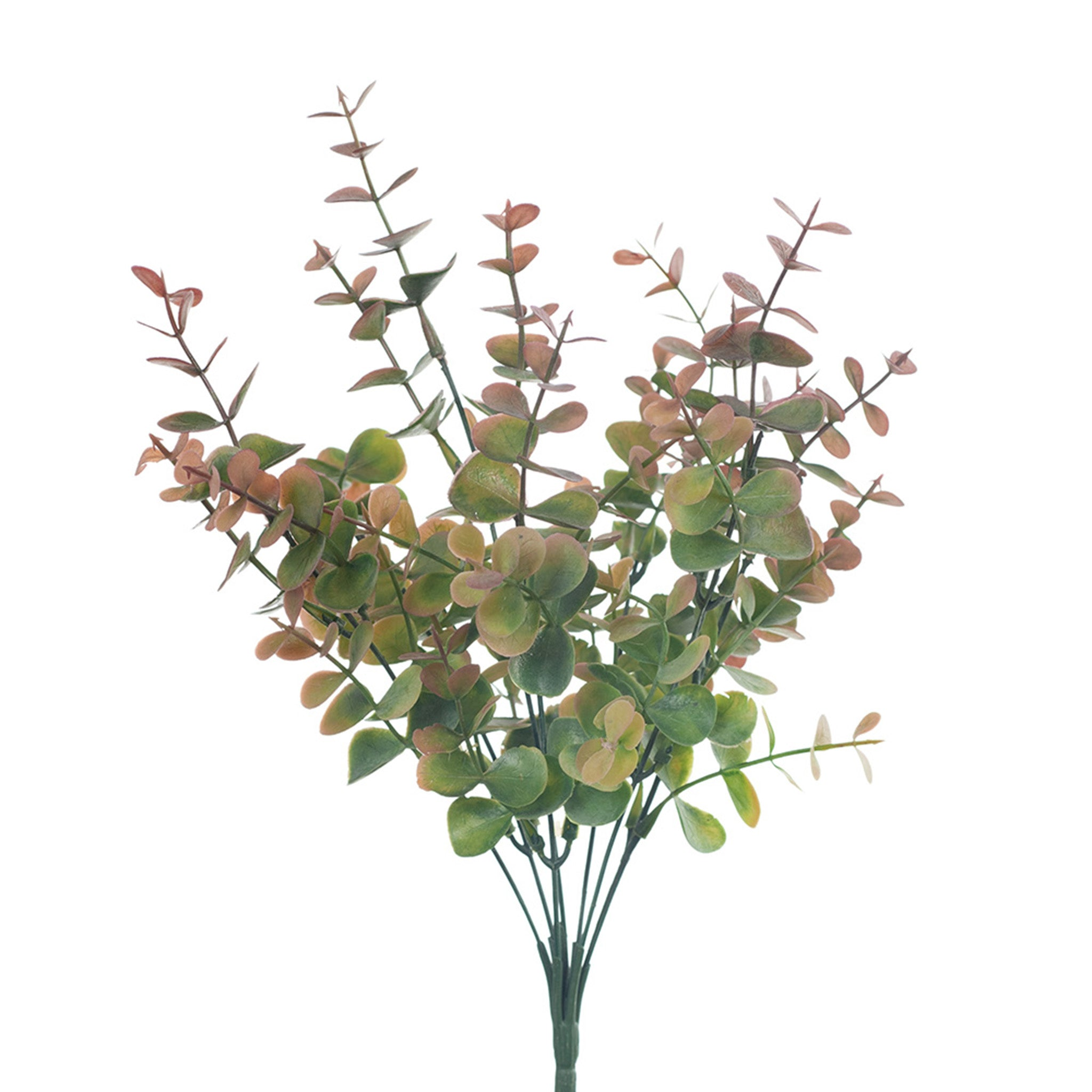 This striking artificial eucalyptus bush with its colour gradient looks amazingly real. Looks just as effective used on its own or mixed with other faux stems.  Be sure to keep out of direct sunlight. 32cm