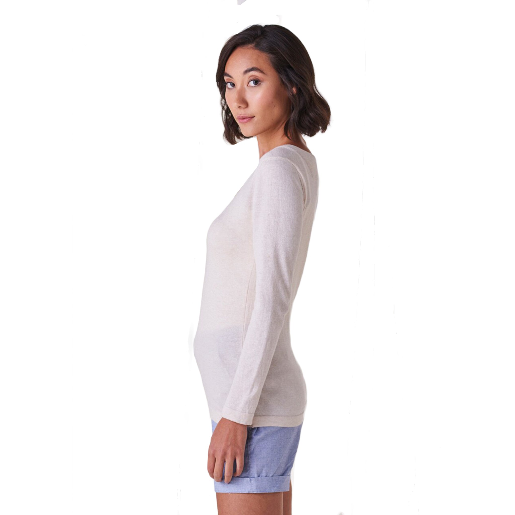 Melody Fitted Long Sleeve V Neck Top Rosewood