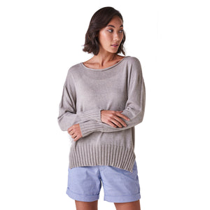 Quinn High/Low Jersey Crew Neck Jumper Dove