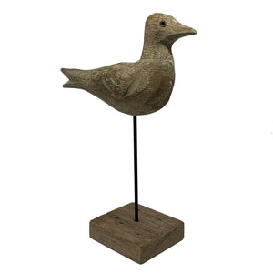 Tiwi Gull on stand. Neutral timber and wire coastal bird will add a jaunty addition to your holiday home. 26cmx21cm