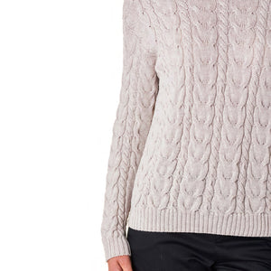 Valentina Merino Wool Cable Jumper in Mushroom
