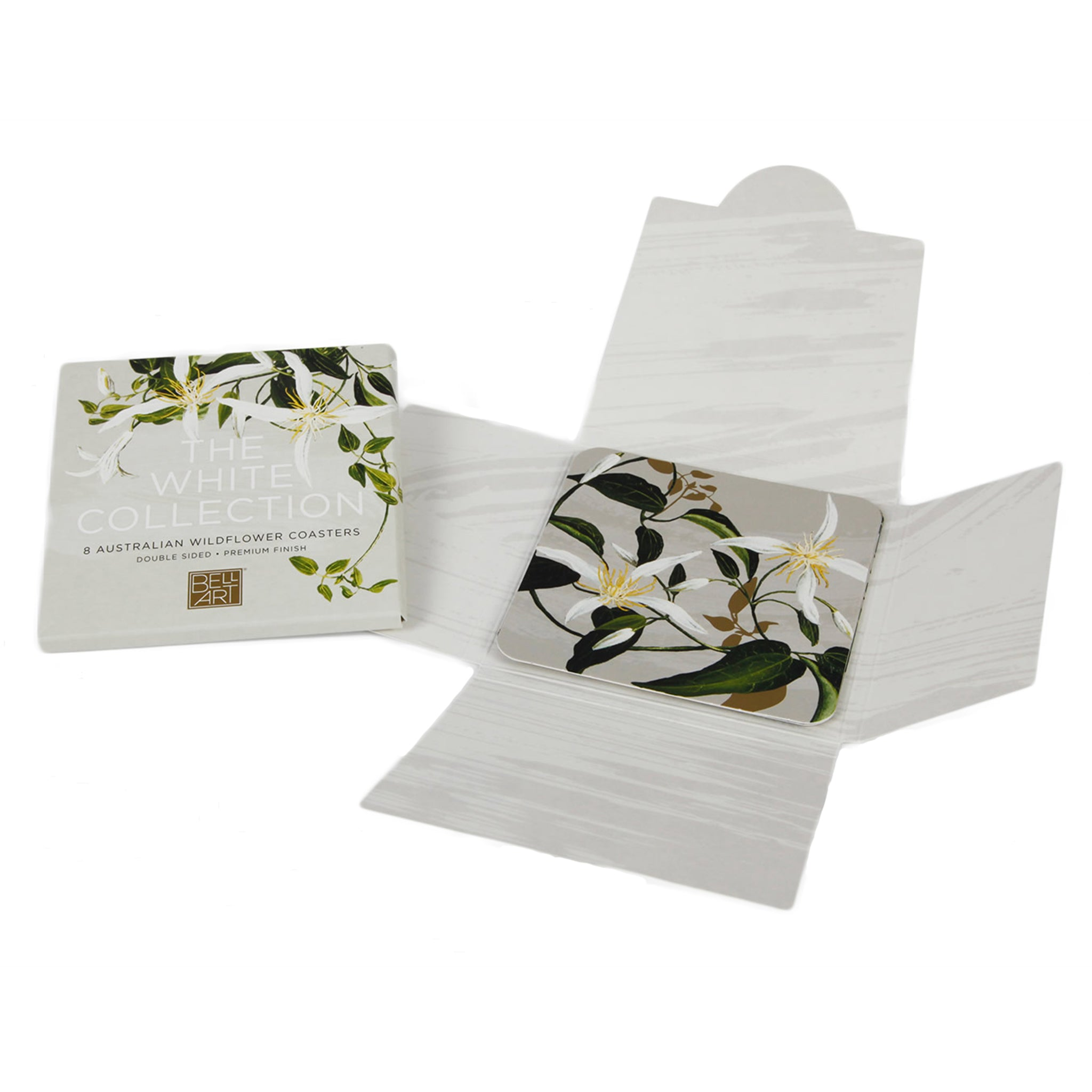 White Native Flora Drink Coasters