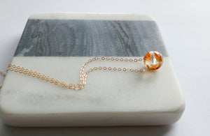 Floating Amber Pendant Necklace