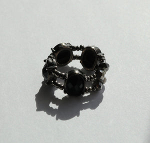 Metallic Gray and Black Ring