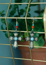 Load image into Gallery viewer, Red Jasper & Turquoise Earrings
