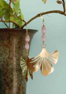 Gold Vintage Pink Earrings