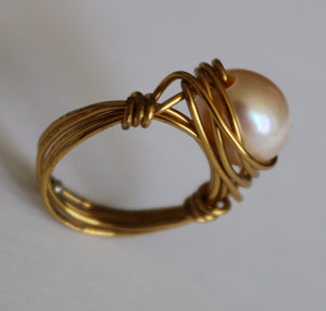 Pearl in Antique Gold Ring