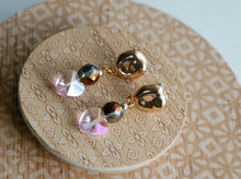 Load image into Gallery viewer, Pink Crystal Heart Earrings