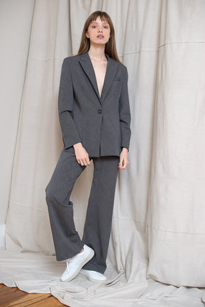 Slanted Blazer - Charcoal Check
