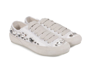 Pariz Jeweled Satin Sneaker Meringue