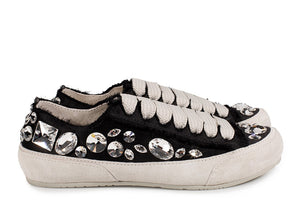 Pariz Jeweled Satin Sneaker Black