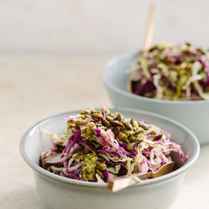 Cabbage slaw with fermented pesto dressing