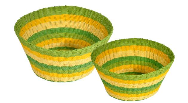 Stripes Bowl Set/2 Green-fliphome.com.au